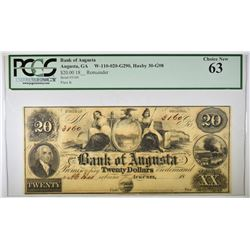 1860'S $20 BANK OF AUGUSTA  PCGS 63