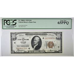 1929 $10 FEDERAL RESERVE  BANK NOTE  PCGS 65 PPQ