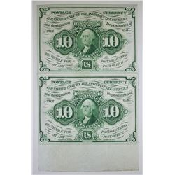1862 STRIP OF 2 10 CENT POSTAGE CURRENCY