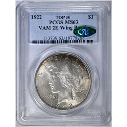 1922 PEACE DOLLAR   PCGS MS-63 TOP 50   CAC
