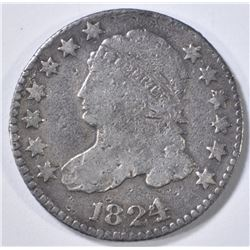 1824/2 BUST DIME, FINE  CLEANED