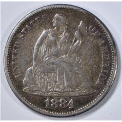 1884-S SEATED LIBERTY DIME   AU
