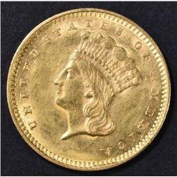1857 $1 GOLD INDIAN PRINCESS  CH BU
