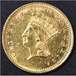 1862 $1 GOLD INDIAN PRINCESS  BU  PL