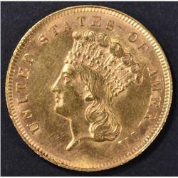 1866 $3 GOLD INDIAN PRINCESS   BU