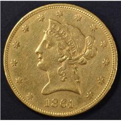 1861 $10 GOLD LIBERTY  CH AU