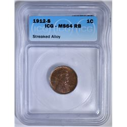 1912-S LINCOLN CENT  ICG MS-64 RB