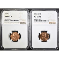 1949-S & 55-S LINCOLN CENTS, NGC MS-66 RED