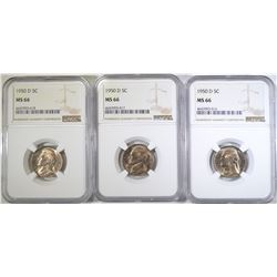 3- 1950-D JEFFERSON NICKELS NGC MS-66