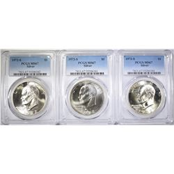 3-1972-S SILVER EISENHOWER DOLLARS, PCGS MS-67
