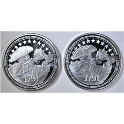 2-2nd AMENDMENT ONE OUNCE .999 SILVER ROUNDS