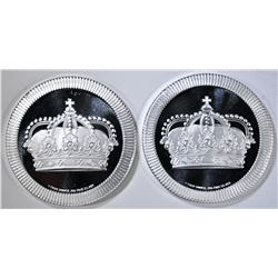 2-SILVERTOWNE 1-Oz .999 SILVER STACKABLE CROWNS