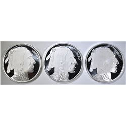 3-ONE Oz .999 SILVER BUFFALO/INDIAN SILVER ROUNDS