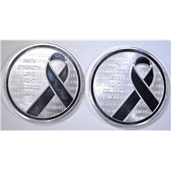 2-AWARENESS RIBBON 1oz .999 SILVER ROUNDS