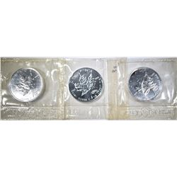 3-BU 2000 FIREWORKS PRIVY CANADA MAPLE LEAF COINS