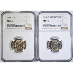 1938-D & 46-D JEFFERSON NICKELS, NGC MS-66
