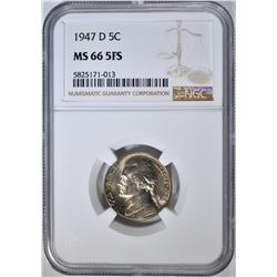 1947-D JEFFERSON NICKEL, NGC MS-66 5FS