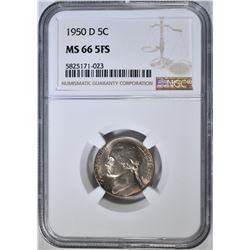 1950-D JEFFERSON NICKEL, NGC MS-66 5FS