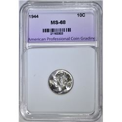 1944 MERCURY DIME, SUPERB GEM+ BU