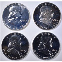 4-PROOF 1962 FRANKLIN HALF DOLLARS