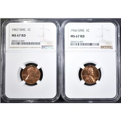 1966 SMS & 67 SMS LINCOLN CENTS