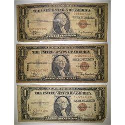3-LOW GRADE 1935 $1 HAWAII SILVER CERTIFICATES