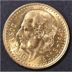 1945 MEXICO  2-1/2 PESOS GOLD COIN BU