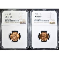 1936 & 1940 LINCOLN CENTS, NGC MS-66 RED