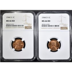 1944-D & 44-S LINCOLN CENTS, NGC MS-66 RED