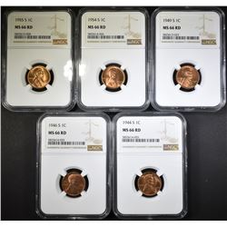 1944-S, 46-S, 49-S, 54-S, 55-S CENTS NGC MS-66RD