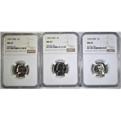1965,66 & 67 SMS JEFFERSON NICKELS, NGC MS-67