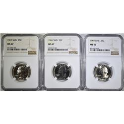 1965, 66 &  67 SMS QUARTERS, NGC MS-67