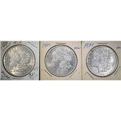 3-1921 MORGAN DOLLARS, BU