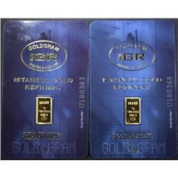 2-1g 999.9 GOLD BARS ISTANBUL GOLD REFINERY