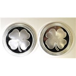 2-FOUR LEAF CLOVER ONE OUNCE .999 SILVER ROUNDS