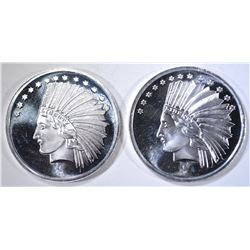 2-ONE OUNCE .999 SILVER INDIAN HEAD  ROUNDS