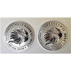 2-SILVERTOWNE MINT EAGLE ONE Oz .999 SILVER ROUNDS
