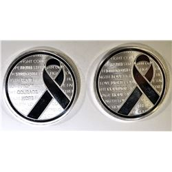 2- RIBBON FAITH STRENGTH COURAGE 1oz SILVER ROUNDS