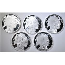 5-ONE OUNCE .999 SILVER INDIAN/BUFFALO ROUNDS