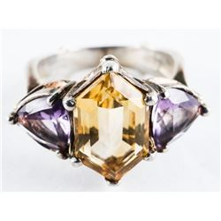 Estate 925 Silver Ring Size 8 - Amethyst and Citri