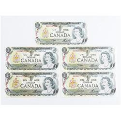 Lot (5) Bank of Canada 1973 1.00 (BAX Prefix) BC46