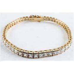 925 Silver Tennis Style Bracelet with Bezel Set 'C