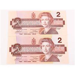 Lot (2) Bank of Canada 1986 2.00 UNC 2 Consecutive