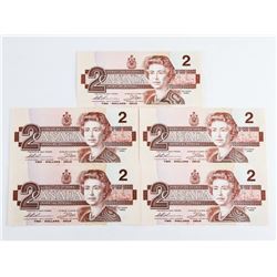 Lot (5) Bank of Canada 1986 2.00 (EBX) In Sequence