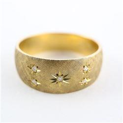Estate 10kt Brush Gold Diamond Band Ring 6.88gr. S
