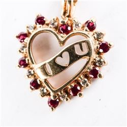 Estate 10kt Gold Diamond and Ruby Heart Necklace