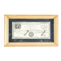 RARE '1801' 10FR Note Framed and Cert (SXR)