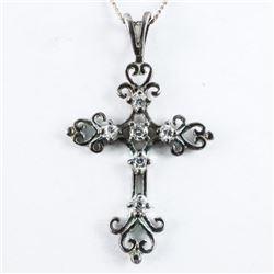 Estate 925 Silver Cross Pendant and Chain