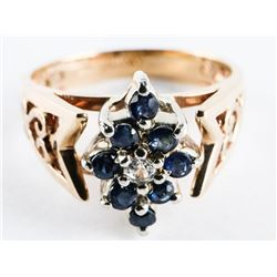 Estate 10kt Gold Ring Size7 - Blue Sapphires and D