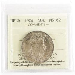 NFLD 1904 Silver 50 Cent MS-62. ICCS.